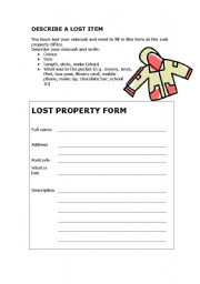 English Worksheets: Describe lost property - easy writing task to fill in a form