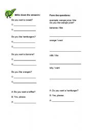English Worksheets: Like or want