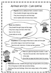 English Worksheets: Animals and Us - I am special