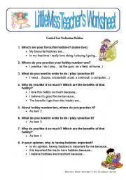 English worksheet: Hobbies - guided text production