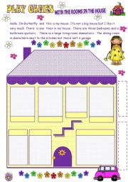 English Worksheets: PLAY GAMES WITH THE ROOMS IN THEHOUSE
