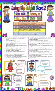 English Worksheets: Using the right word part 2 : its, it�s, know, no, knew, new, one, won