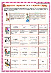 English Worksheets: 4 REPORTED SPEECH  - IMPERATIVES/COMMANDS 2