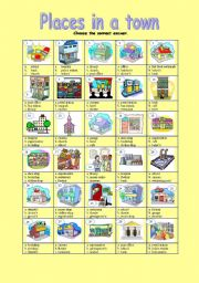 English Worksheet: Places in a town (editable+key)