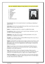 English Worksheets: 10 poetry techniques