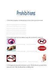 English Worksheet: prohibitions