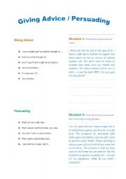 English Worksheet: Language Functions . Giving Advice and Persuading