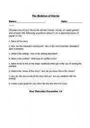 English Worksheets: The Skeleton of Stories