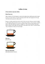 English Worksheet: Coffee drinks at Starbucks