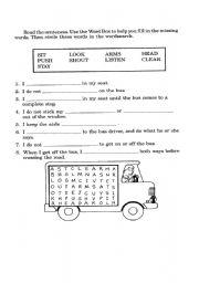 Bus Safety - ESL worksheet by ANEESHA