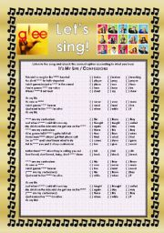 English Worksheet: GLEE SERIES � SONGS FOR CLASS! S01E06 � TWO SONGS � FULLY EDITABLE WITH KEY!
