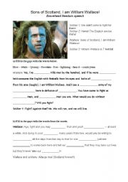 English Worksheets: Sons of Scotland, I am William Wallace! Braveheart freedom speech