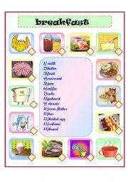 English Worksheet: breakfast matching