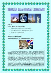 English Worksheet: ENGLISH AS A GLOBAL LANGUAGE