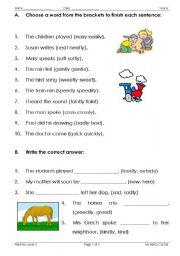 English teaching worksheets: Adverbs