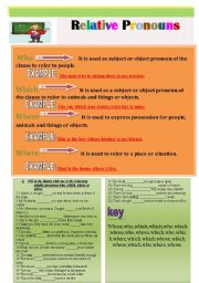 English Worksheets: Relative Pronouns( who,which,where,whose),Exercise + Key