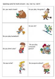 English Worksheets: speaking cards for short answers yes, I do/no, I don�t