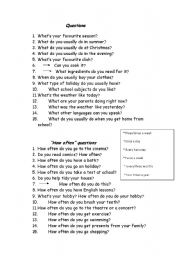 English Worksheets: Questions to prepare Trinity grade 4