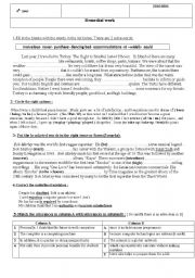 English Worksheet: Remedial work  4th year students