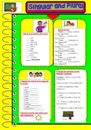 English Worksheets: Singular and Plural exercises