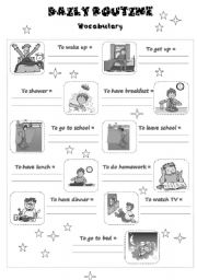 English Worksheets: Daily Routine Vocabulary