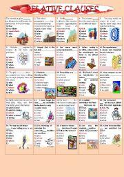 English Worksheet: RELATIVE  CLAUSES  1