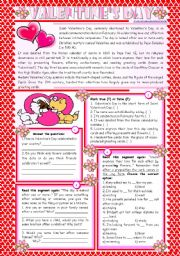 English Worksheets: Valentine's Day – reading comprehension + grammar (-ing after prepositions) [4 tasks] KEYS INCLUDED ((2 pages)) ***editable