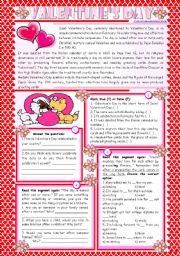 English Worksheet: Valentine's Day – reading comprehension + grammar (-ing after prepositions) [4 tasks] KEYS INCLUDED ((2 pages)) ***editable