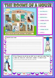 English Worksheet: The rooms of a house � vocabulary (rooms, furniture and appliances) and grammar (there is, there are) [3 tasks] ***editable