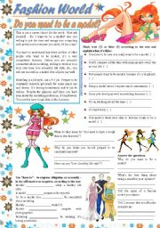English Worksheet: Fashion World – Do you want to be a model? - reading comprehension, have to [text + 4 tasks] ***editable