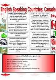 English Worksheet: English Speaking Countries (Canada)...Reading Comprehension Worksheet.