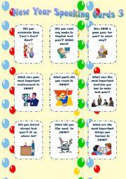 English Worksheet: New Year Speaking cards 3 - editable