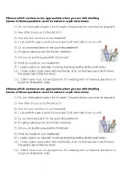 English Worksheets: Chit Chat - appropriate questions
