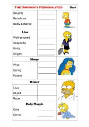 describing people s personalities adjectives simpsons esl worksheet by zenlee. Black Bedroom Furniture Sets. Home Design Ideas