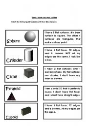 Worksheets Three Dimensional Shapes Worksheets english worksheet three dimensional shapes