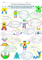 English Worksheet: Describing Friendly Monsters