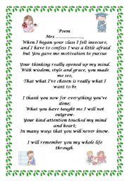 English Worksheet: Poem + lesson plan