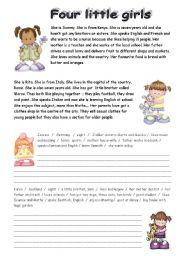 English Worksheet: FOUR LITTLE GIRLS