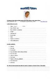 English Worksheet: Jamie Oliver�s biography