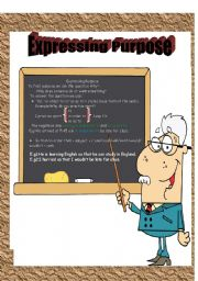 English Worksheets: Expressing Purpose with  to,in order to ,so as to & so that