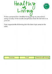 English worksheet: Healthy Living