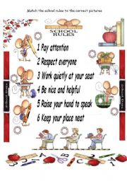 English Worksheet: School rules - Match the pictures