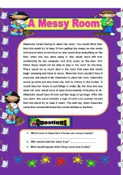 English Worksheets: Comprehension - A Messy Room