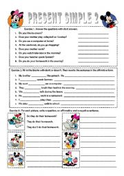 English Worksheet: Simple present - Negative and Question forms