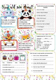 English Worksheets: How old are they? (Editable/ with Key)