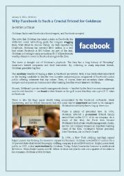 English Worksheet: ADVANCED BUSINESS READING - Facebook Investment - NY Times Article (January 3), very current, for business classes, 2 pages, with vocabulary exercises