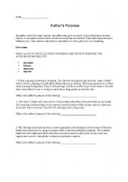 English Worksheets: Determine Author�s Purpose