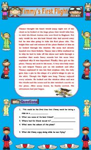 English Worksheets: Comprehension - Timmy�s First Flight!