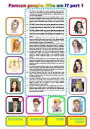 English Worksheet: Famous people: Who am I? part 1 (04.01.2011)