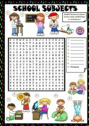 English Worksheet: SCHOOL SUBJECTS - WORDSEARCH